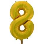 Воздушный шар (34''86 см) Цифра, 8, Золото, 1 шт.