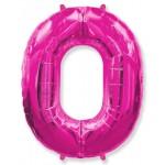 Воздушный шар (40''102 см) Цифра, 0, Фуше, 1 шт.