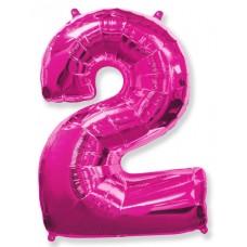 Воздушный шар (40''102 см) Цифра, 2, Фуше, 1 шт.