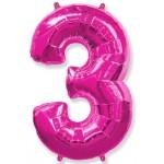 Воздушный шар (40''102 см) Цифра, 3, Фуше, 1 шт.