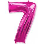 Воздушный шар (40''102 см) Цифра, 7, Фуше, 1 шт.