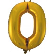 Шар (34''86 см) Цифра, 0, Золото, 1 шт.