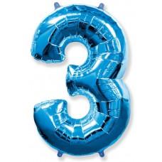 Шар (40''102 см) Цифра, 3, Синий, 1 шт.
