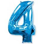 Шар (40''102 см) Цифра, 4, Синий, 1 шт.