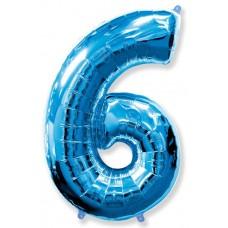 Шар (40''102 см) Цифра, 6, Синий, 1 шт.