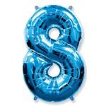 Шар (40''102 см) Цифра, 8, Синий, 1 шт.