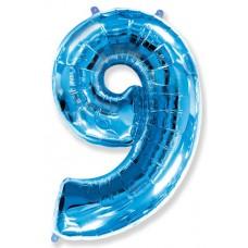 Шар (40''102 см) Цифра, 9, Синий, 1 шт.