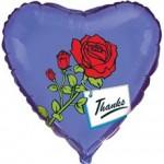 Шар (18'46 см) Сердце, Роза с благодарностью, Синий, 1 шт.