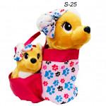 Собака с бантиком в сумке с маленькой собачкой