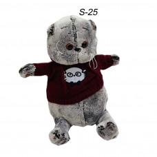 Мягкий котик Басик средний в свитере с капюшоном
