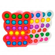 Антистресс пупырка Попит (Pop It) Мишки в твёрдой рамке ,радуга