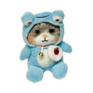 Мягкий котик в одежде с капюшоном большой   в ассортименте