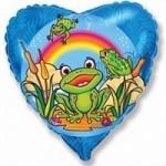 Шар (18'46 см) Сердце, Счастливый лягушонок, Синий, 1 шт.
