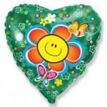 Шар (18'46 см) Сердце, Цветок, Зеленый, 1 шт.
