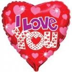 Шар (18'46 см) Сердце, Я люблю тебя (яркие сердечки), Красный, 1 шт.
