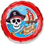 Шар (18'46 см) Круг, С Днем рождения (пират) , Красный, 1 шт.