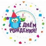 Шар (18'46 см) Круг, С Днем рождения (Сова), на русском языке, 1 шт.