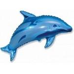 Шар (37/94 см) Фигура, Дельфин фигурный, Синий, 1 шт.
