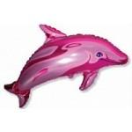 Шар (37/94 см) Фигура, Дельфин фигурный, Фуше, 1 шт.
