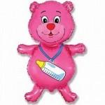 Шар (37/94 см) Фигура, Медвежонок-девочка, Розовый, 1 шт.