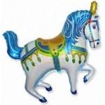 Шар (39/99 см) Фигура, Лошадь ярмарочная, Синий, 1 шт.