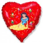 Шар (18'46 см) Сердце, Белоснежка и гномы, Красный, 1 шт.