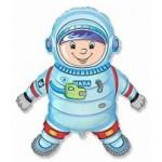 Шар (40/102 см) Фигура, Космонавт, Голубой, 1 шт.
