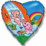 Шар (18'46 см) Сердце, Веселые слонята, 1 шт.
