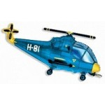 Шар (38/97 см) Фигура, Вертолет, Синий, 1 шт.