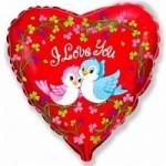 Шар (18'46 см) Сердце, Влюбленные птички, Красный, 1 шт.