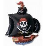 Шар (41/104 см) Фигура, Пиратский корабль, Черный, 1 шт.