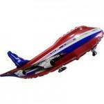 Шар (39/99 см) Фигура, Самолет, Красный, 1 шт.
