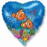 Шар (18'46 см) Сердце, Друзья рыбы-клоуны, Синий, 1 шт.