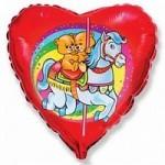 Шар (18/46 см) Сердце, Карусель, Красный, 1 шт.