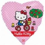 Шар (18'46 см) Сердце, Котенок на велосипеде, Розовый, 1 шт.