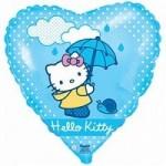 Шар (18'46 см) Сердце, Котенок с зонтиком, Голубой, 1 шт.