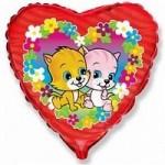 Шар (18'46 см) Сердце, Коты с цветами, Фуше, 1 шт.