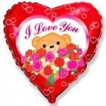 Шар (18'46 см) Сердце, Медведь с розами, Красный, 1 шт.