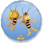 Шар (18/46 см) Круг, Летящая пчела Майя, Голубой, 1 шт.