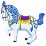 Шар (15/38 см) Мини-фигура, Лошадь карусельная, Синий, 1 шт.