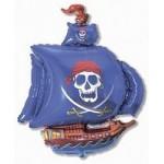 Шар (15/38 см) Мини-фигура, Пиратский корабль, Синий, 1 шт.
