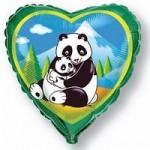 Шар (18'46 см) Сердце, Панды, Зеленый, 1 шт.