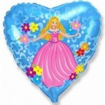 Шар (18'46 см) Сердце, Принцесса, Голубой, 1 шт.