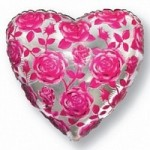 Шар (18'46 см) Сердце, Розы, Фуше, 1 шт.