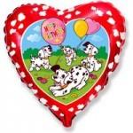 Шар (18'46 см) Сердце, С Днем рождения (далматинцы), Красный, 1 шт.