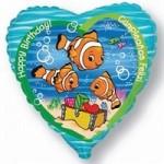 Шар (18'46 см) Сердце, С Днем рождения (рыба-клоун), 1 шт.